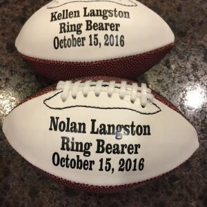 Custom made mini wedding footballs